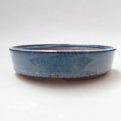 Bonsaischale aus Keramik 15,5 x 15,5 x 4 cm, Farbe blau - 1