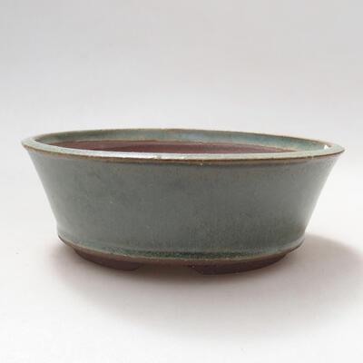 Bonsaischale aus Keramik 14 x 14 x 5 cm, Farbe grün - 1