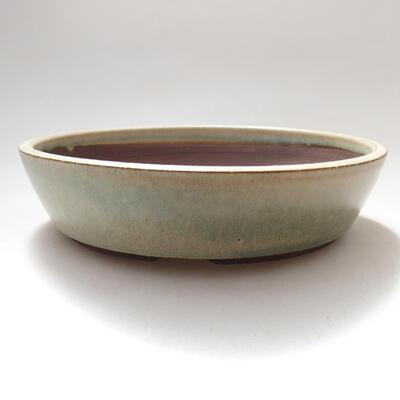 Bonsaischale aus Keramik 17 x 17 x 4 cm, Farbe beige - 1