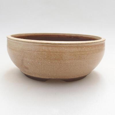 Bonsaischale aus Keramik 14,5 x 14,5 x 6 cm, Farbe beige - 1