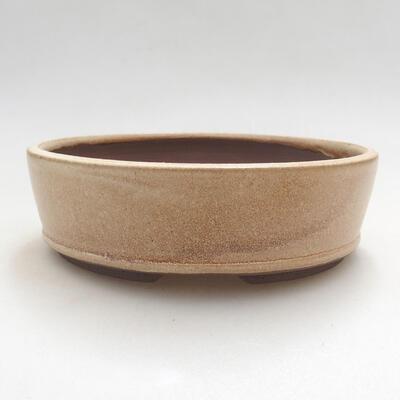 Bonsaischale aus Keramik 14,5 x 14,5 x 4,5 cm, Farbe beige - 1
