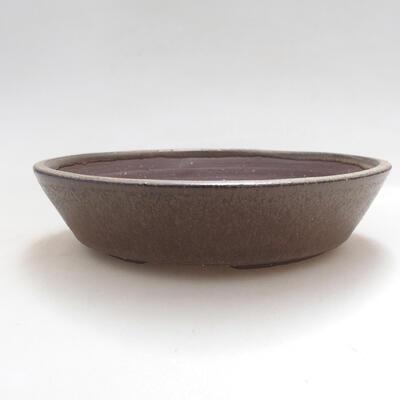 Bonsaischale aus Keramik 16,5 x 16,5 x 3,5 cm, Farbe braun - 1