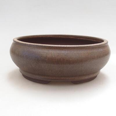 Bonsaischale aus Keramik 14 x 14 x 5,5 cm, braune Farbe - 1