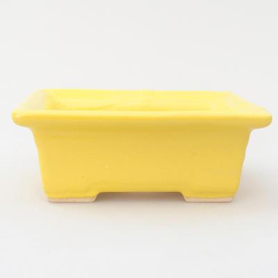 Keramik Bonsai Schüssel 11,5 x 9 x 4 cm, gelbe Farbe - 1