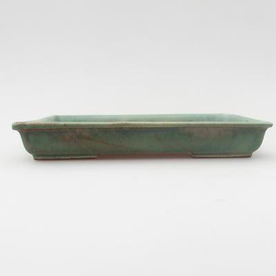 Keramik Bonsaischale 15,5 x 12,5 x 2 cm, Farbe grün - 1