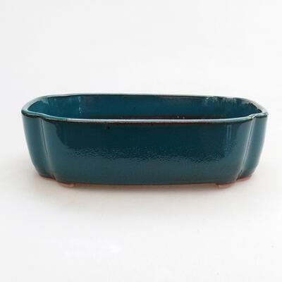 Bonsaischale aus Keramik 17,5 x 13,5 x 4,5 cm, Farbe grün - 1