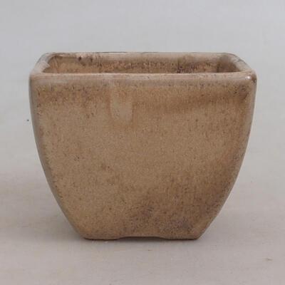 Bonsaischale aus Keramik 7,5 x 7,5 x 6 cm, Farbe beige - 1