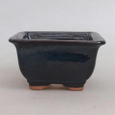 Bonsaischale aus Keramik 10 x 10 x 5,5 cm, blau-schwarze Farbe - 1