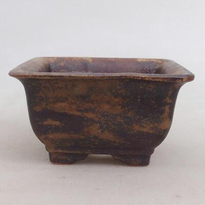 Bonsaischale aus Keramik 10 x 10 x 5,5 cm, Farbe braun-grün - 1