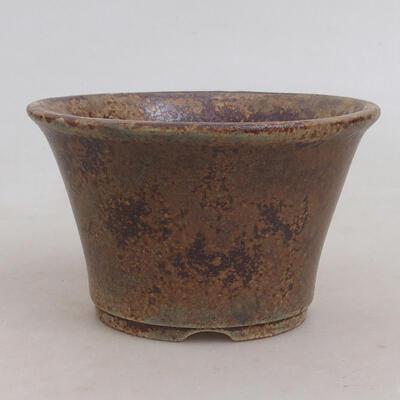 Bonsaischale aus Keramik 11 x 11 x 7 cm, Farbe braun-grün - 1