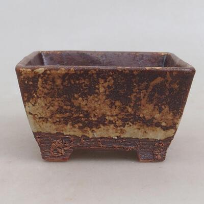 Bonsaischale aus Keramik 9,5 x 9,5 x 5,5 cm, Farbe braun-gelb - 1