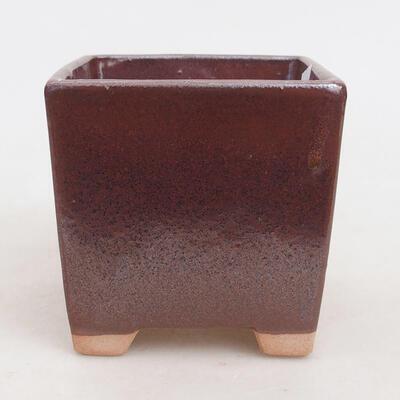 Bonsaischale aus Keramik 9 x 9 x 8,5 cm, Farbe braun - 1