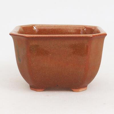 Bonsaischale aus Keramik 10 x 10 x 6 cm, Farbe braun-rostig - 1