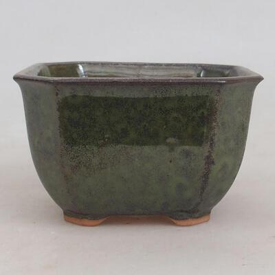 Bonsaischale aus Keramik 10 x 10 x 6 cm, Farbe grau-grün - 1