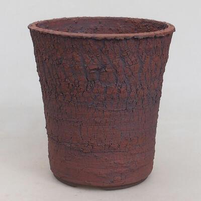 Bonsaischale aus Keramik 13,5 x 13,5 x 14,5 cm, Farbe rissig - 1