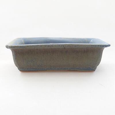 Bonsaischale aus Keramik 13,5 x 9,5 x 4 cm, Farbe blau - 1