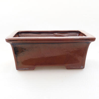 Bonsaischale aus Keramik 11 x 8,5 x 4,5 cm, braune Farbe - 1