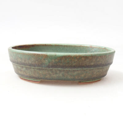 Bonsaischale aus Keramik 13 x 10,5 x 3,5 cm, Farbe grün - 1