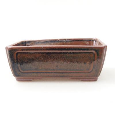 Bonsaischale aus Keramik 12,5 x 9 x 4,5 cm, Farbe braun-schwarz - 1