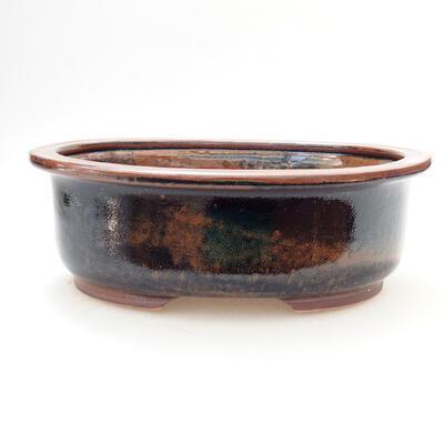 Bonsaischale aus Keramik 22 x 17,5 x 7,5 cm, Farbe braun-schwarz - 1