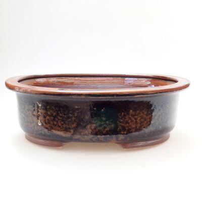 Bonsaischale aus Keramik 25 x 20,5 x 8 cm, Farbe braun-schwarz - 1