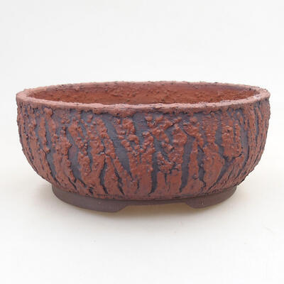 Bonsaischale aus Keramik 18 x 18 x 7 cm, Farbe rissig - 1
