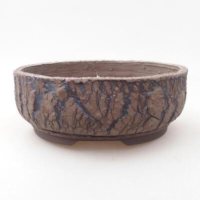 Bonsaischale aus Keramik 18,5 x 18,5 x 7 cm, rissige Farbe - 1
