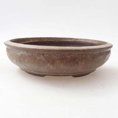 Bonsaischale aus Keramik 18,5 x 18,5 x 5 cm, braune Farbe - 1