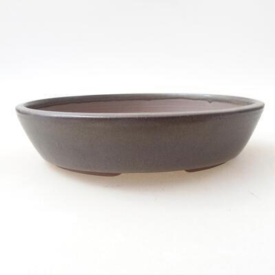Bonsaischale aus Keramik 18 x 18 x 4 cm, Farbe braun - 1