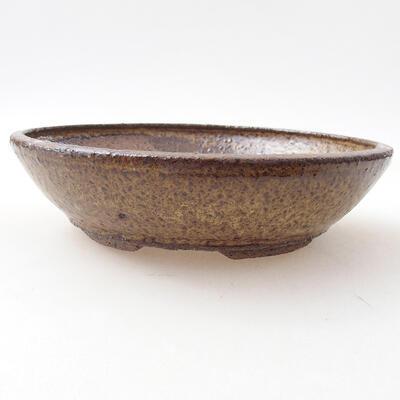 Bonsaischale aus Keramik 19 x 19 x 5 cm, Farbe braun - 1