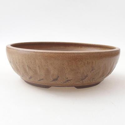 Bonsaischale aus Keramik 20 x 20 x 6 cm, braune Farbe - 1