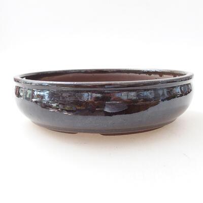 Bonsaischale aus Keramik 18 x 18 x 5 cm, Farbe braun - 1