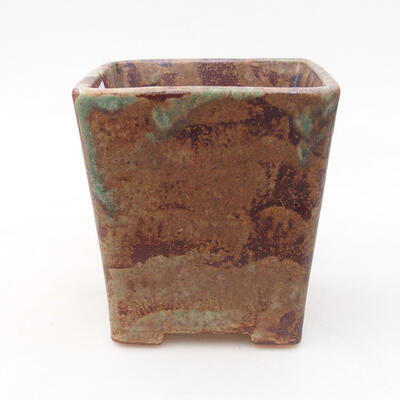 Bonsaischale aus Keramik 10,5 x 10,5 x 11,5 cm, Farbe braun-grün - 1