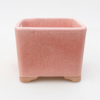 Bonsaischale aus Keramik 10 x 10 x 8 cm, Farbe rosa - 1