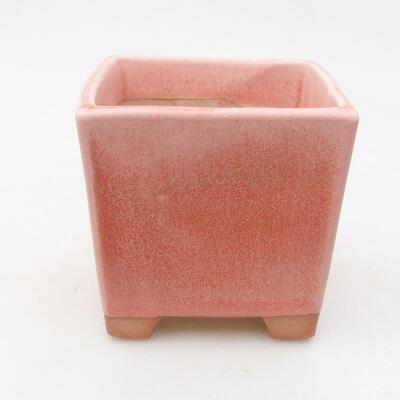 Bonsaischale aus Keramik 8,5 x 8,5 x 8,5 cm, Farbe rosa - 1