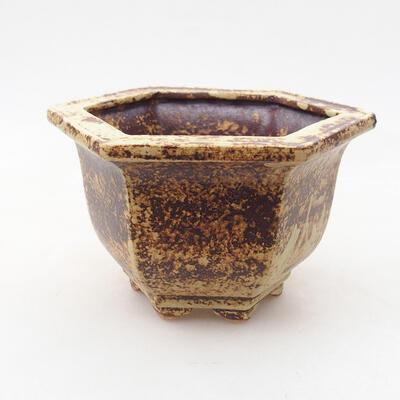 Bonsaischale aus Keramik 12 x 10,5 x 7,5 cm, Farbe gelb-braun - 1