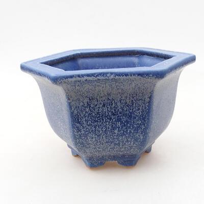 Bonsaischale aus Keramik 12 x 10,5 x 7,5 cm, Farbe blau - 1