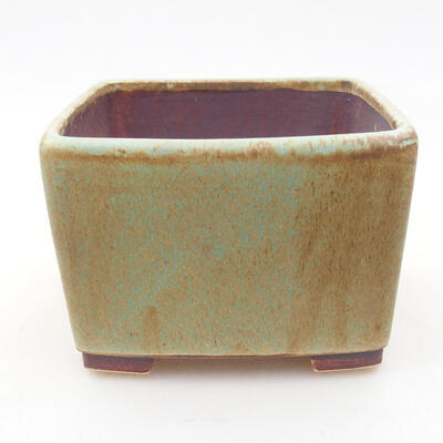 Bonsaischale aus Keramik 10 x 10 x 7 cm, Farbe grün - 1