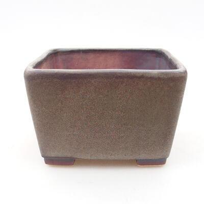 Bonsaischale aus Keramik 10 x 10 x 7 cm, Farbe braun-grau - 1