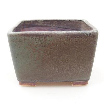 Bonsaischale aus Keramik 10 x 10 x 7 cm, Farbe grün-braun - 1