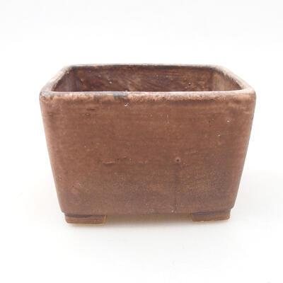 Bonsaischale aus Keramik 10 x 10 x 7 cm, Farbe braun-rosa - 1