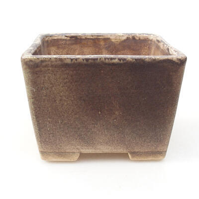 Bonsaischale aus Keramik 10 x 10 x 7,5 cm, braune Farbe - 1