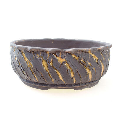 Bonsaischale aus Keramik 21 x 21 x 8 cm, Farbe Rissgelb - 1