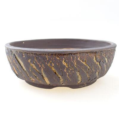Bonsaischale aus Keramik 19 x 19 x 6 cm, Farbe Rissgelb - 1
