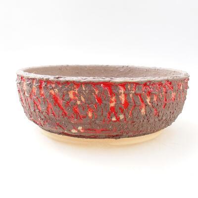 Bonsaischale aus Keramik 20,5 x 20,5 x 7 cm, rissige rote Farbe - 1