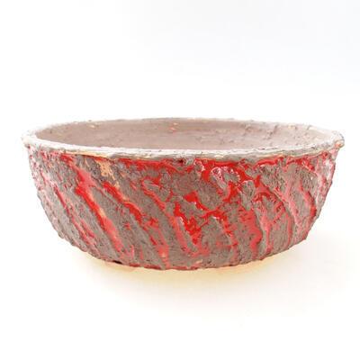 Bonsaischale aus Keramik 19 x 19 x 7 cm, Farbe Rissrot - 1