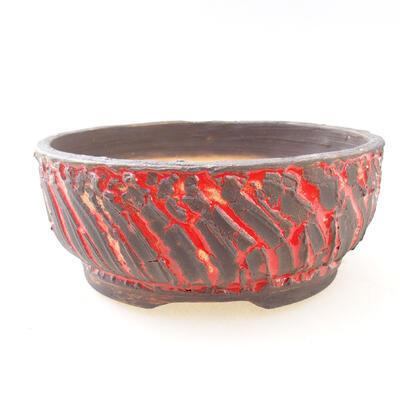 Bonsaischale aus Keramik 16,5 x 16,5 x 6,5 cm, rissige rote Farbe - 1