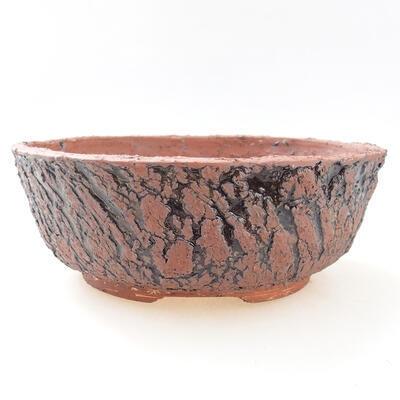 Bonsaischale aus Keramik 20,5 x 20,5 x 7,5 cm, grau-schwarze Farbe - 1