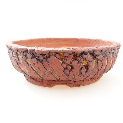 Bonsaischale aus Keramik 18 x 18 x 6 cm, Farbe grau-gelb - 1