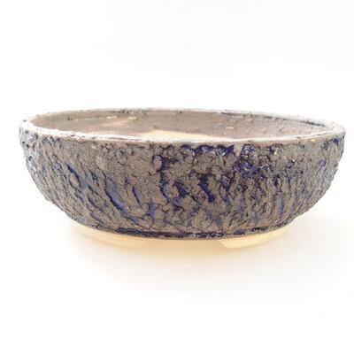 Bonsaischale aus Keramik 19,5 x 19,5 x 6,5 cm, Farbe grau-blau - 1